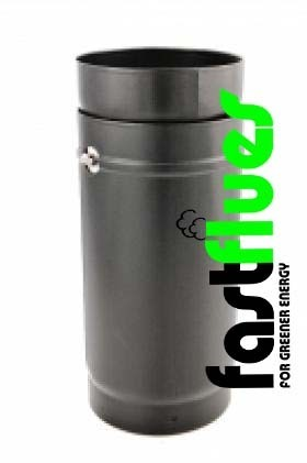 Black Vitreous Enamel Adjustable Flue Pipe   Ø 150 Mm 6 Inch