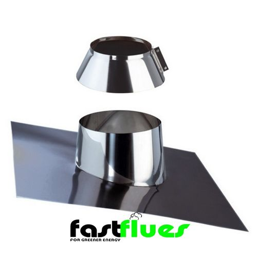 Single Wall  Flue 0-30 Degree Flashing Plate With Collar - 100 mm 4 Inch