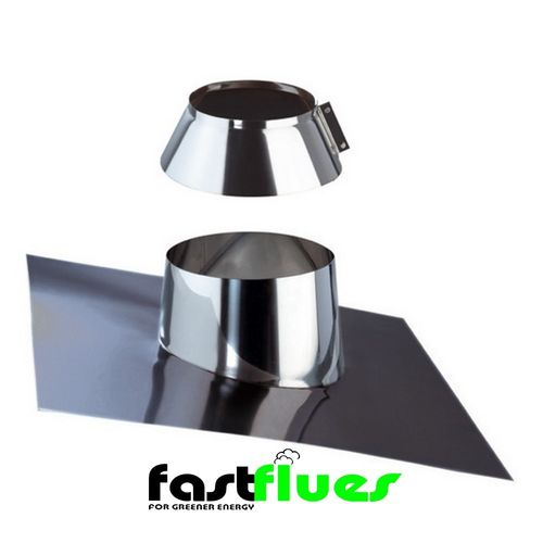 Single Wall  Flue 0-45 Degree Flashing Plate With Collar - 100 mm 4 Inch
