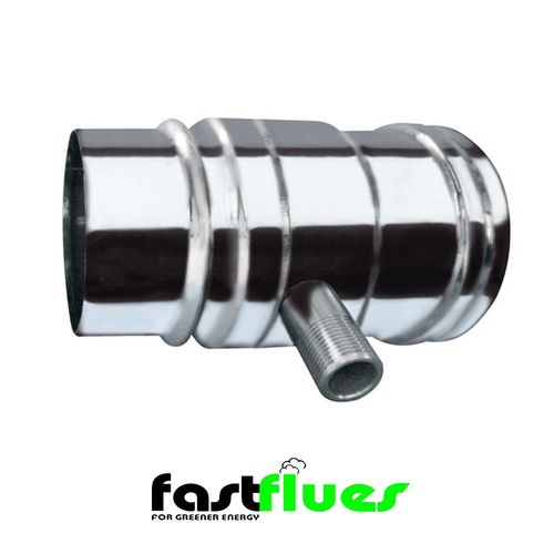 Single Wall  Flue with Horizontal Drain - 100 mm 4 Inch