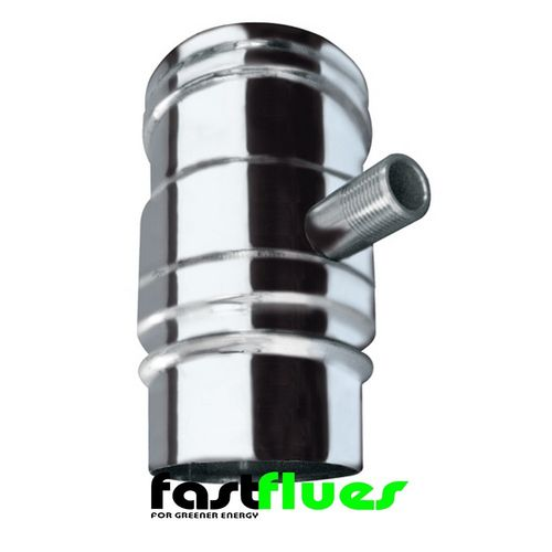 Single Wall  Flue with Vertical Drain - 300 mm 12 Inch