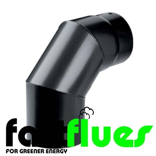 Black Vitreous Enamel 90  Deg Elbow - Ø 150 mm 6 Inch