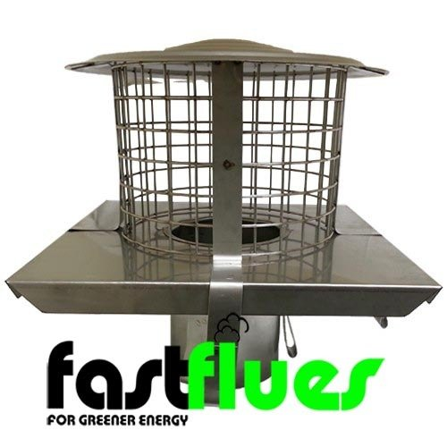 Flue Liner  SQ Pot Hanger With Cowl  Mesh Stainless Steel x Ø 125 mm 5 Inch