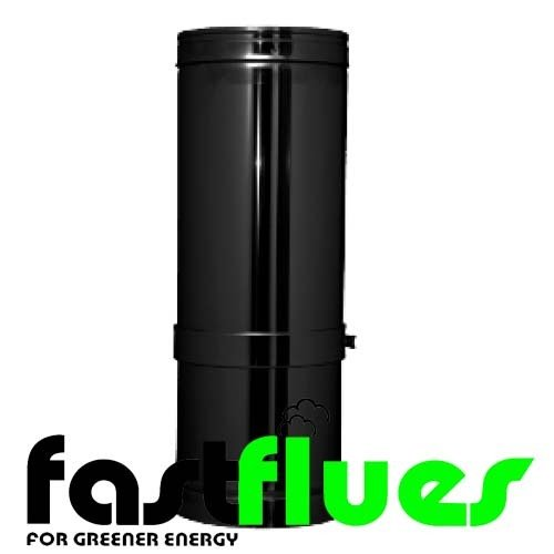 Black twin Wall  Stainless Steel  Adjustable Flue Pipe 350 - 500 mm - Ø 150 mm 6 Inch