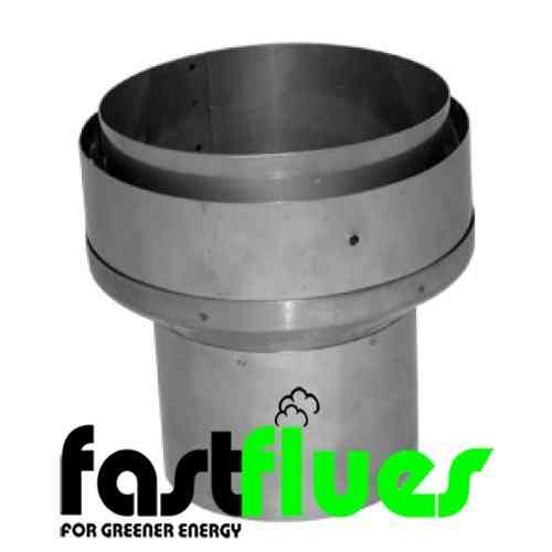 Flue liner increaser from single wall 125 mm rigid to 150 mm flexible MR 5 - 6 inch