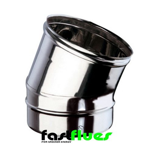 Single wall  Flue 15 Deg Elbow - 100 mm 4 Inch
