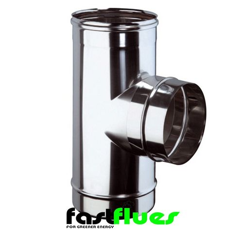 Single Wall  Flue 90 Degree Tee - 100 mm 4 Inch