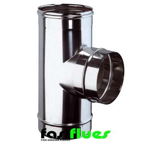 Single Wall  Flue 87 Degree Tee - 100 mm 4 Inch