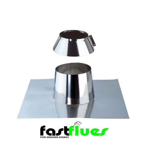 Single Wall  Flue Flat Flashing with Storm Collar - 200 mm 8 Inch