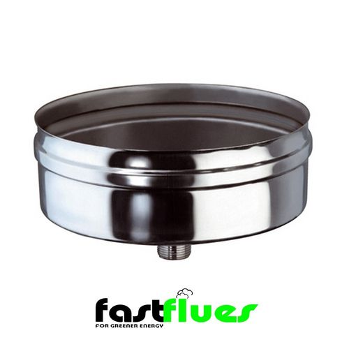 Single Wall  Flue End Cap With Drain - 250 mm 10 Inch